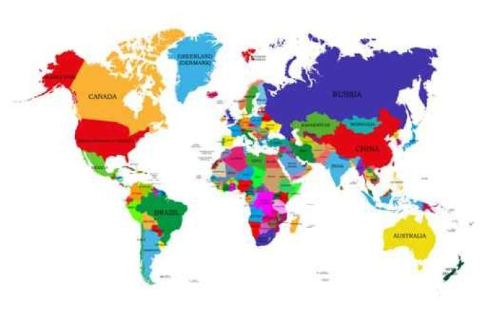 Colorful World Map with Names
