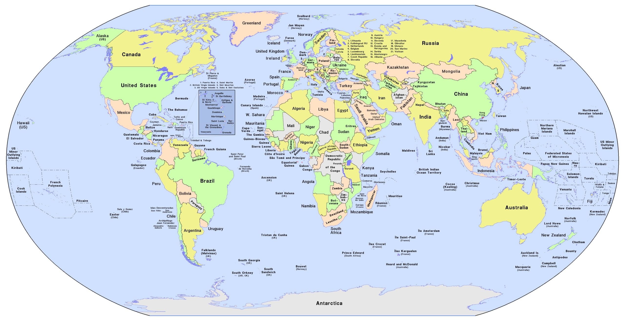Printable World Map with Countries Labelled
