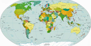 World Map with Countries and Capitals