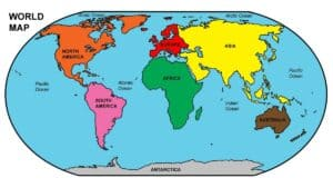 World Map Labelled Continents
