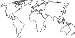 World Map with Black And White Outline