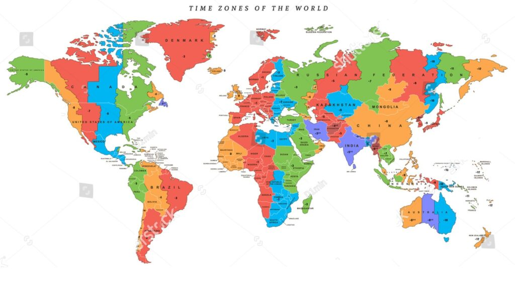 Printable World Time Zone Map