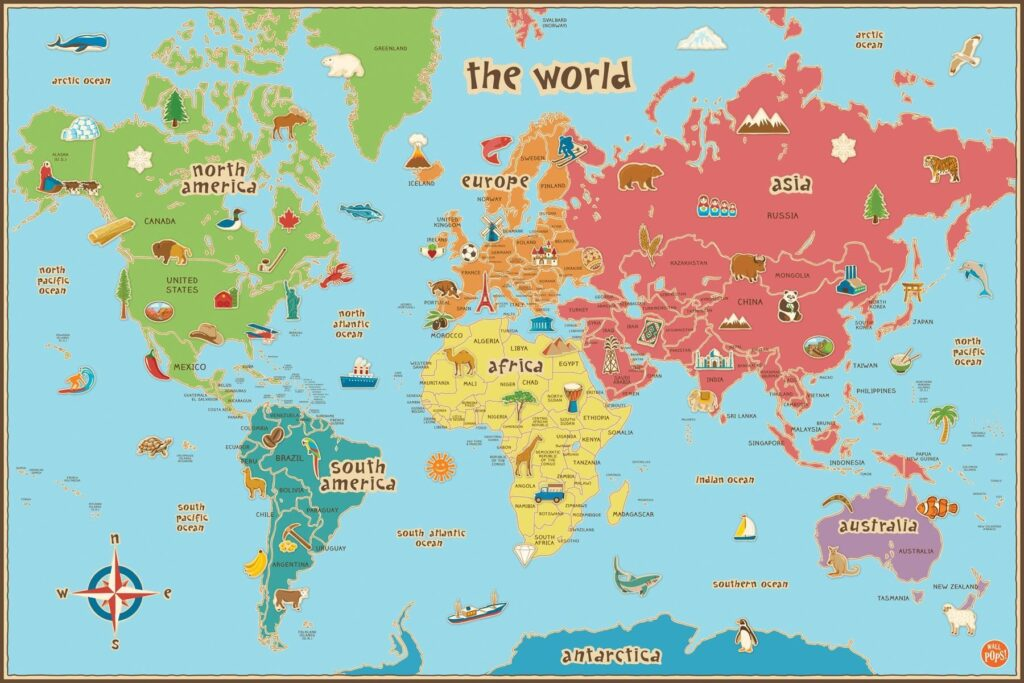 World Map For Kids Printable