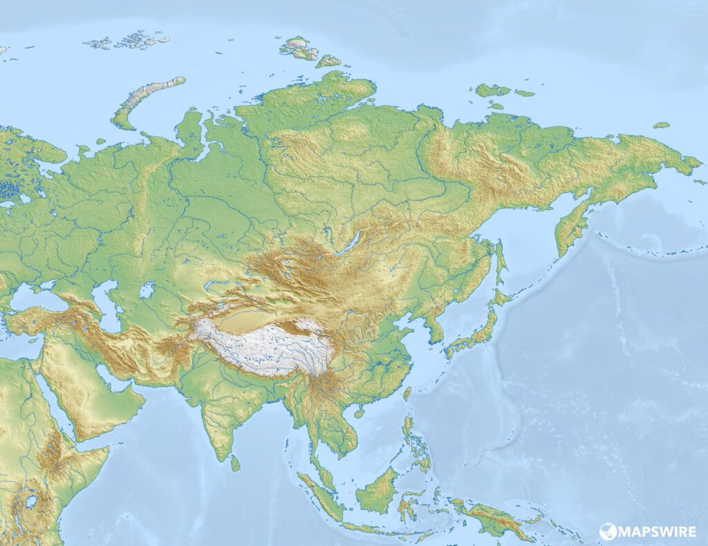 Blank Physical Map of Asia