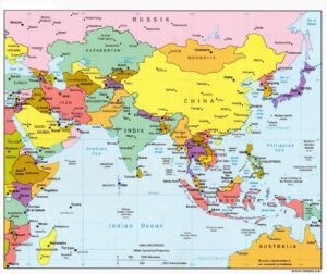 Map of Asia Political With Capitals