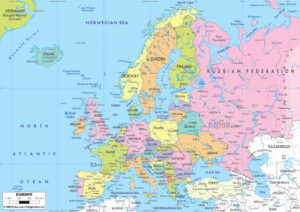 Detailed Map of Europe with Cities