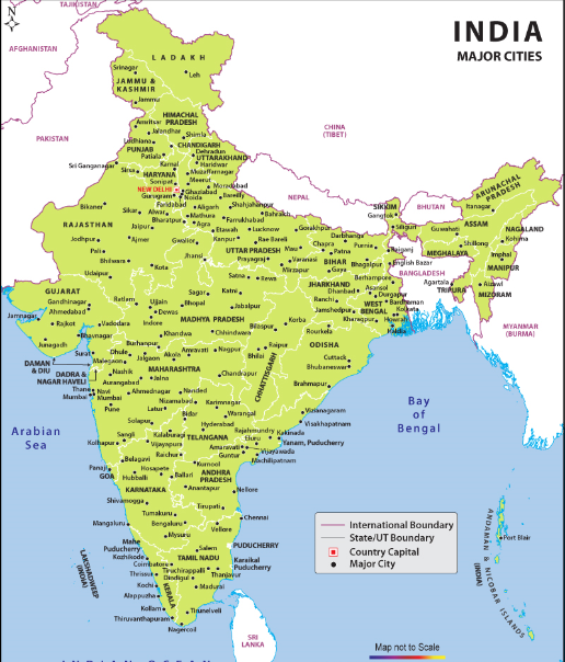 Labeled India Map with Cities