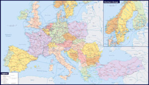 Large Map of Europe with Cities and Towns