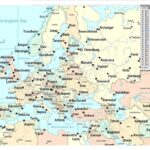Map of Europe with Cities Printable