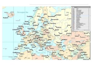 Map of Europe with Cities Printable pdf