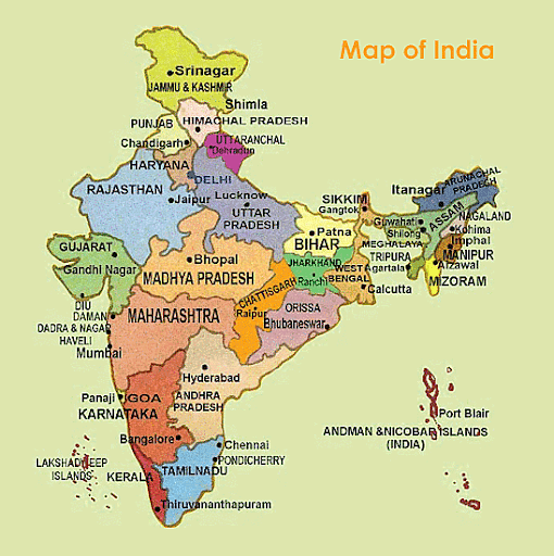 Map of India With States and Cities