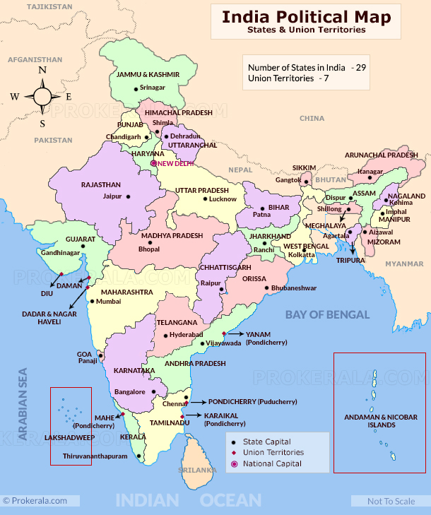 Map of India with States
