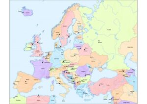 Printable Europe Map with Cities and Countries pdf