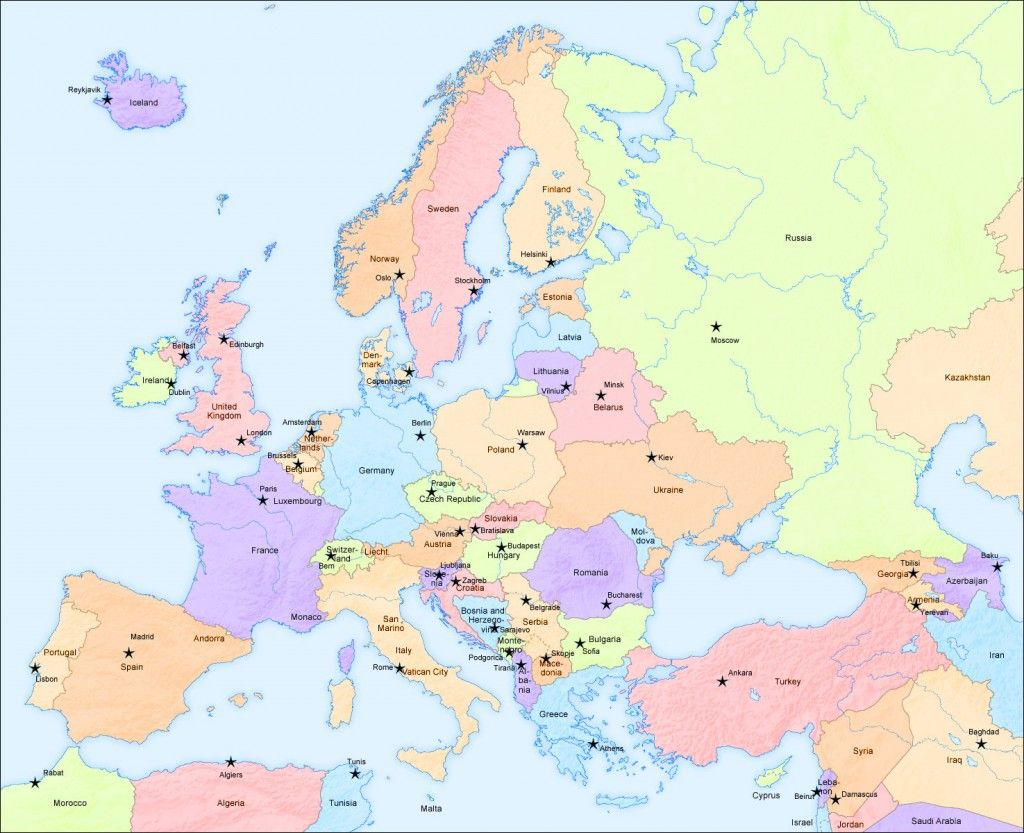 Printable Europe Map with Cities and Countries