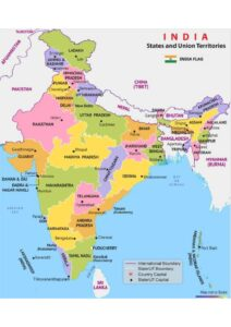 Printable India Map with States pdf