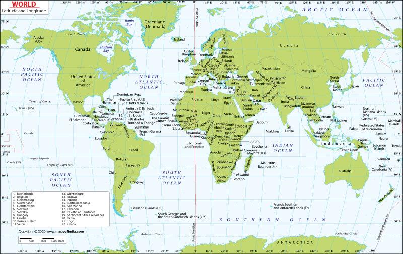 World Map With Latitude and Longitude Coordinates