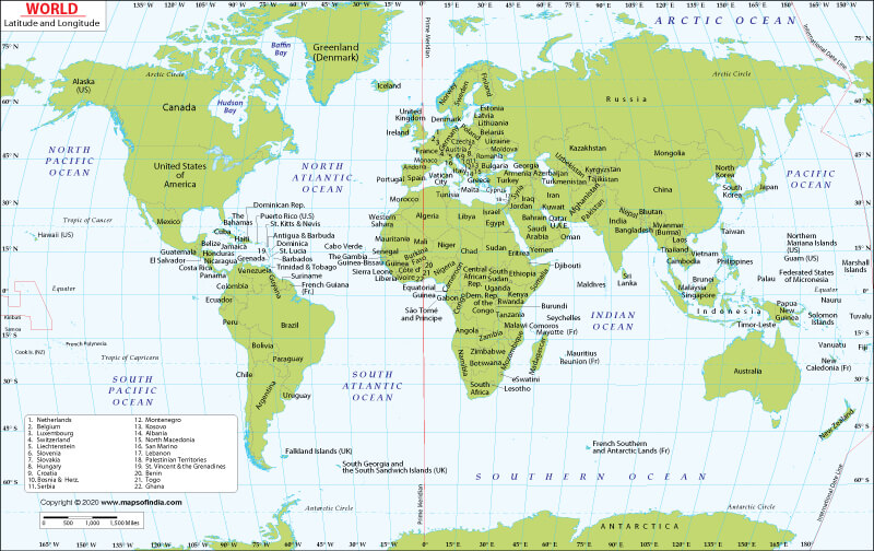 World Map With Latitude and Longitude Coordinates