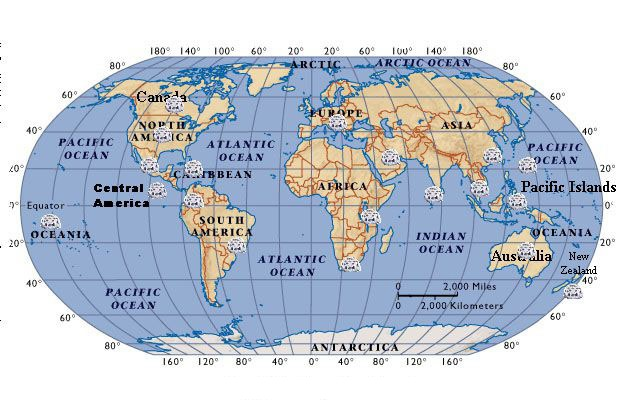 World Map with Coordinates