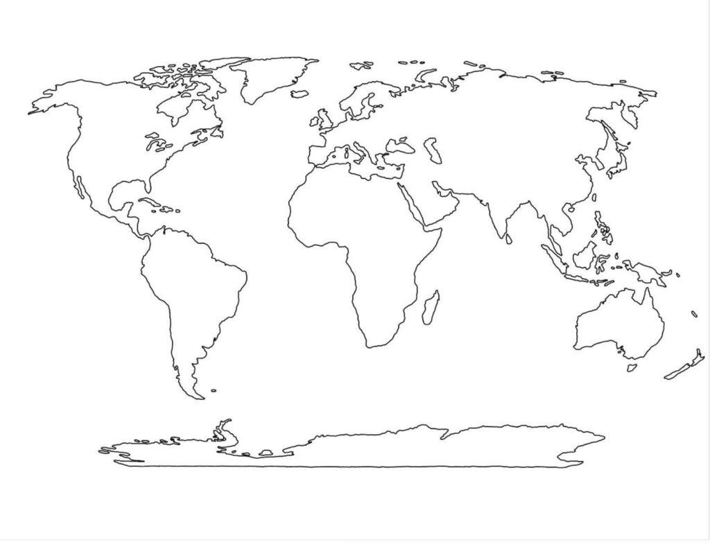 Blank World Map PDF Black and White