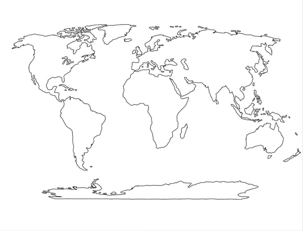 Blank World Map PDF Black and White