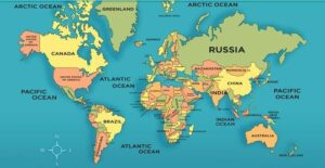 Detailed World Map With Countries in PDF
