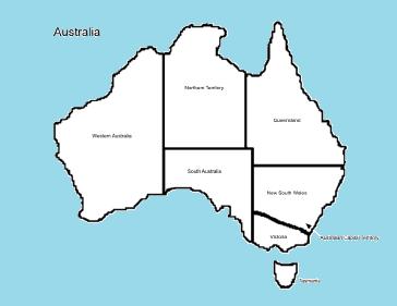Labeled Australia Map