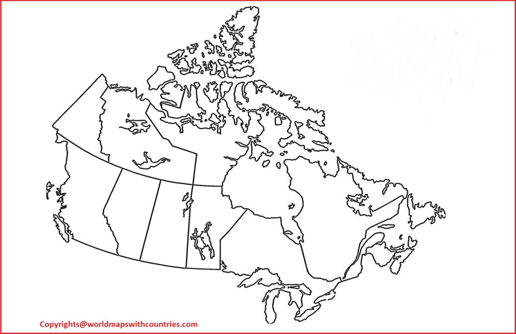 Map of Canada For Practice Worksheet