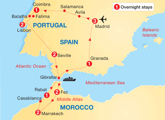 Map of Morocco and Spain