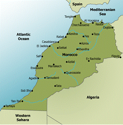 Map of Morocco with Cities