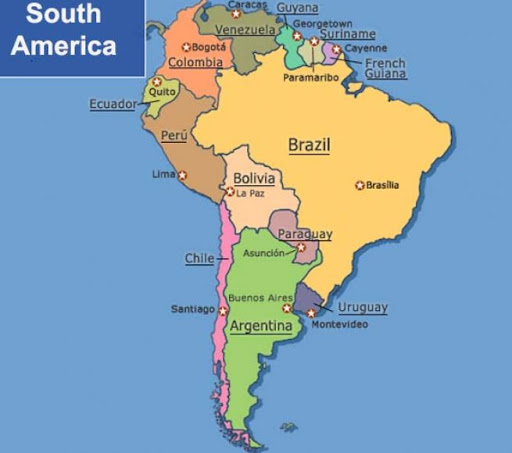 Labeled South America Map with Capitals