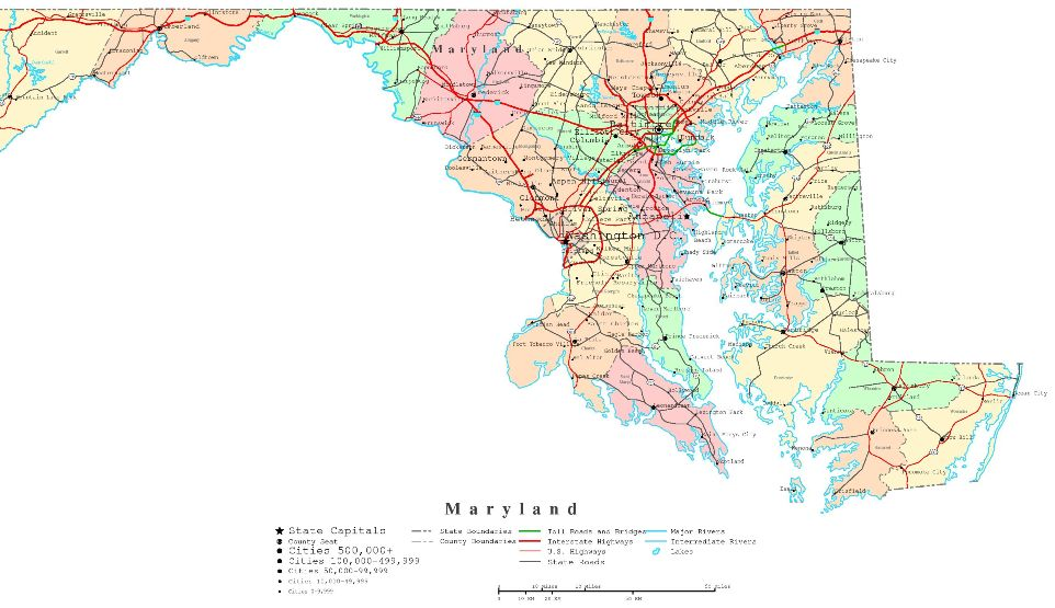 Printable Labeled Maryland Map