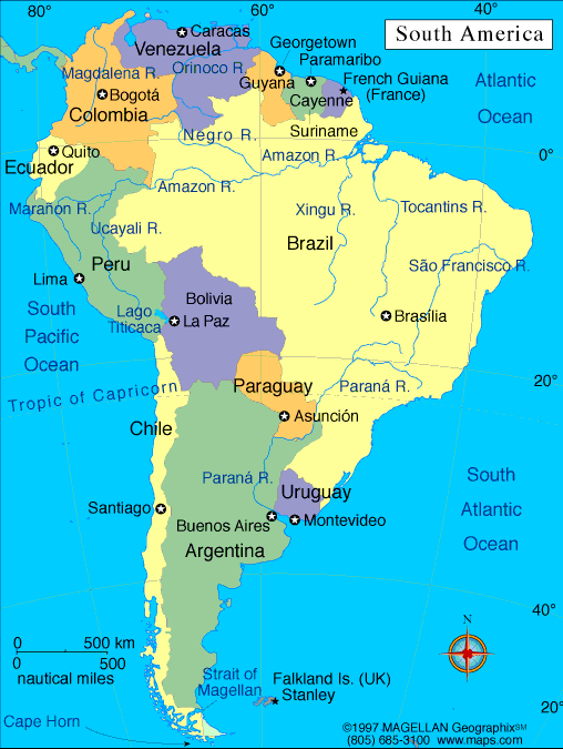 South America Map with Cities Labeled